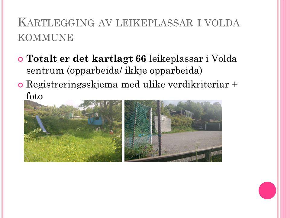 K ARTLEGGING AV LEIKEPLASSAR I VOLDA KOMMUNE Totalt er det kartlagt 66 leikeplassar i Volda sentrum (opparbeida/ ikkje opparbeida) Registreringsskjema med ulike verdikriteriar + foto