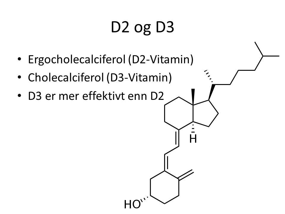D2 og D3 Ergocholecalciferol (D2-Vitamin) Cholecalciferol (D3-Vitamin) D3 er mer effektivt enn D2