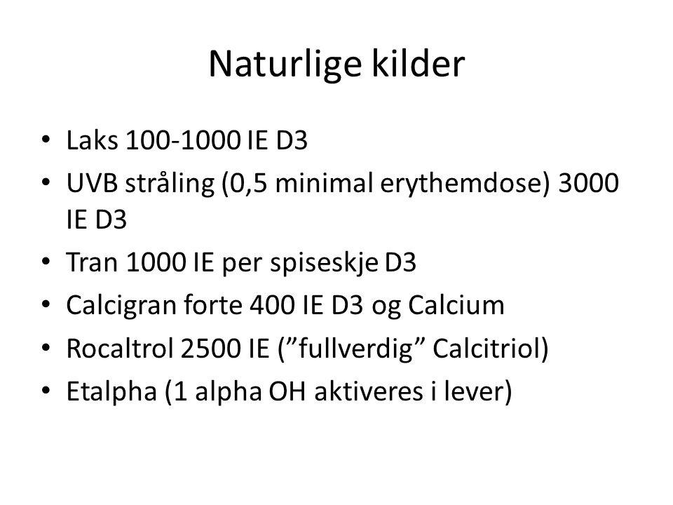 Naturlige kilder Laks 100-1000 IE D3 UVB stråling (0,5 minimal erythemdose) 3000 IE D3 Tran 1000 IE per spiseskje D3 Calcigran forte 400 IE D3 og Calcium Rocaltrol 2500 IE ( fullverdig Calcitriol) Etalpha (1 alpha OH aktiveres i lever)