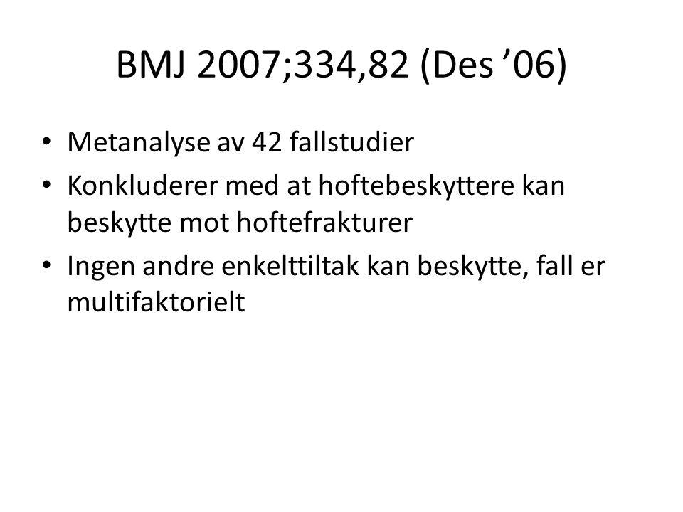 BMJ 2007;334,82 (Des '06) Metanalyse av 42 fallstudier Konkluderer med at hoftebeskyttere kan beskytte mot hoftefrakturer Ingen andre enkelttiltak kan beskytte, fall er multifaktorielt