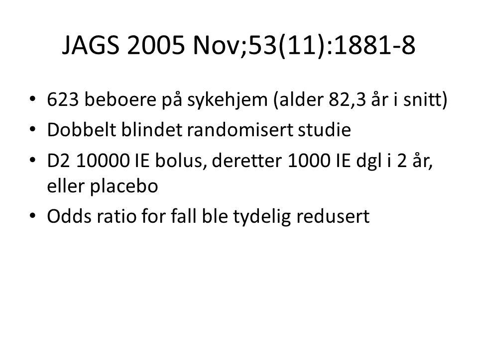 JAGS 2005 Nov;53(11):1881-8 623 beboere på sykehjem (alder 82,3 år i snitt) Dobbelt blindet randomisert studie D2 10000 IE bolus, deretter 1000 IE dgl i 2 år, eller placebo Odds ratio for fall ble tydelig redusert