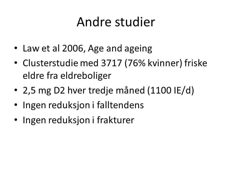Andre studier Law et al 2006, Age and ageing Clusterstudie med 3717 (76% kvinner) friske eldre fra eldreboliger 2,5 mg D2 hver tredje måned (1100 IE/d) Ingen reduksjon i falltendens Ingen reduksjon i frakturer