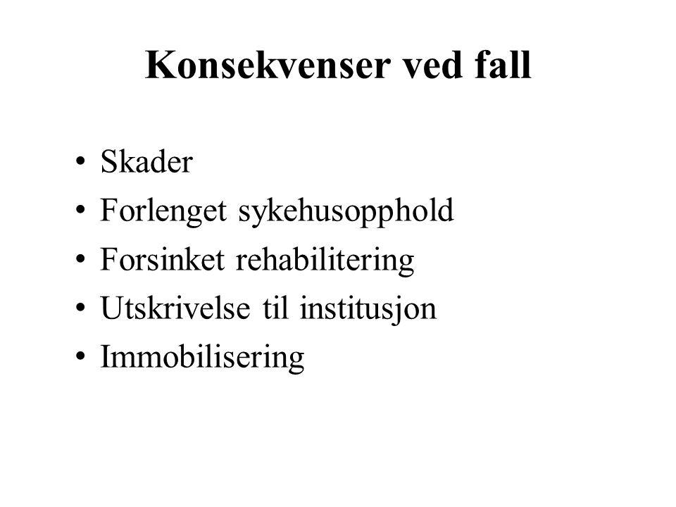 Konsekvenser ved fall Skader Forlenget sykehusopphold Forsinket rehabilitering Utskrivelse til institusjon Immobilisering