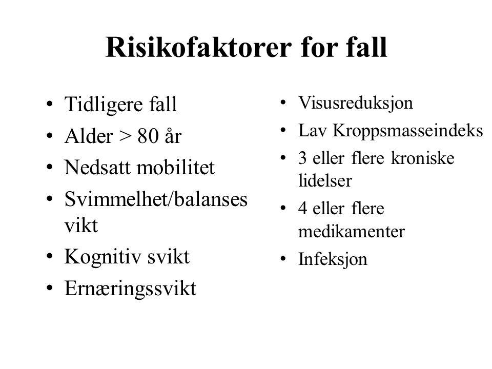Risikofaktorer for fall Tidligere fall Alder > 80 år Nedsatt mobilitet Svimmelhet/balanses vikt Kognitiv svikt Ernæringssvikt Visusreduksjon Lav Kroppsmasseindeks 3 eller flere kroniske lidelser 4 eller flere medikamenter Infeksjon
