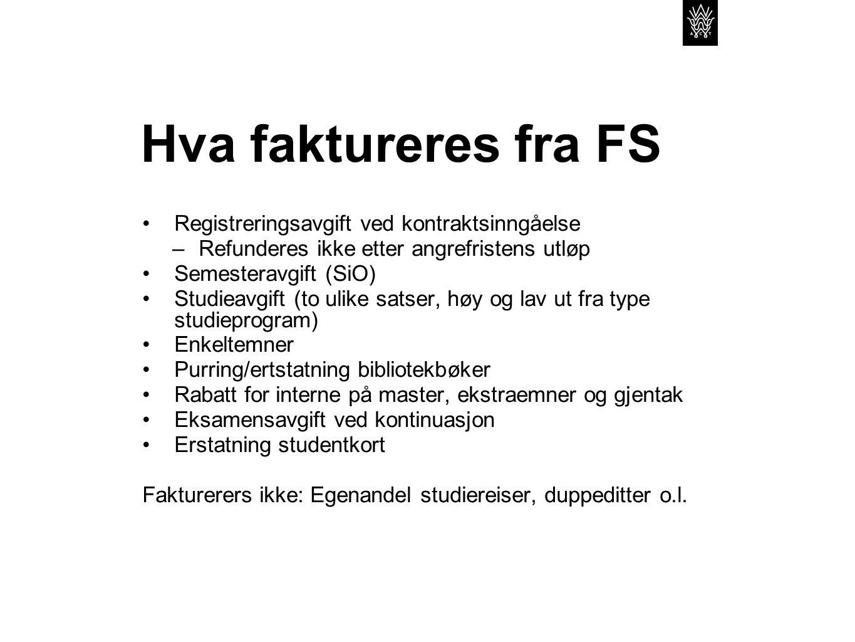 Hva faktureres fra FS Registreringsavgift ved kontraktsinngåelse –Refunderes ikke etter angrefristens utløp Semesteravgift (SiO) Studieavgift (to ulik