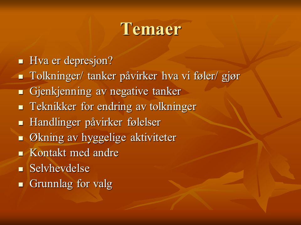 Temaer Hva er depresjon. Hva er depresjon.