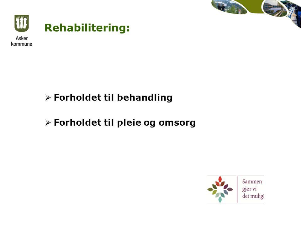 Rehabilitering:  Forholdet til behandling  Forholdet til pleie og omsorg