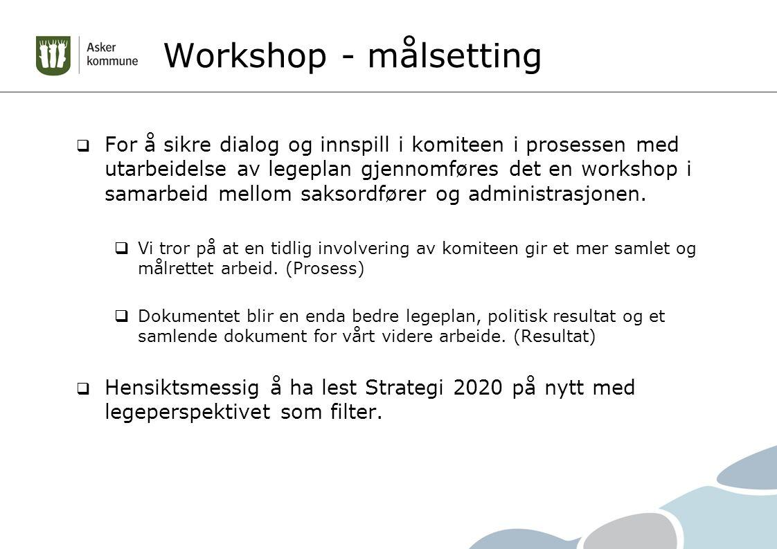 Workshop - målsetting  For å sikre dialog og innspill i komiteen i prosessen med utarbeidelse av legeplan gjennomføres det en workshop i samarbeid mellom saksordfører og administrasjonen.