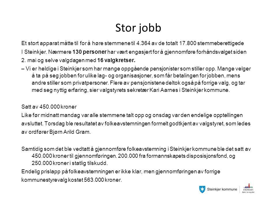 Stor jobb Et stort apparat måtte til for å høre stemmene til 4.364 av de totalt 17.800 stemmeberettigede I Steinkjer.