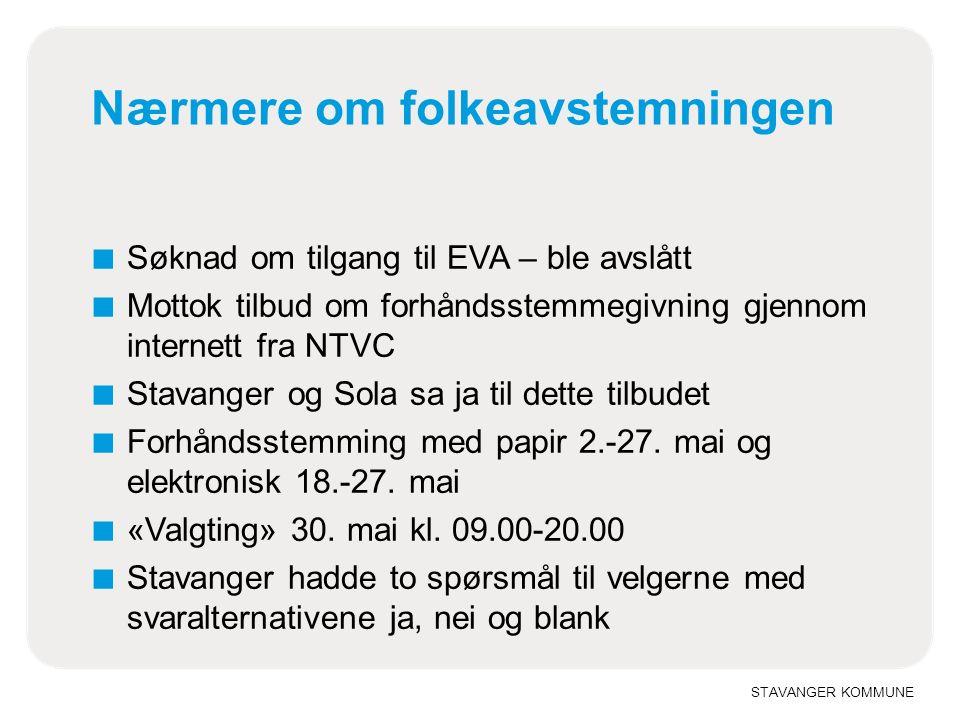 STAVANGER KOMMUNE Valgresultat ■ Valgdeltakelse 25,7 prosent ■ Av disse forhåndsstemte 76,7 % via internett og mer enn halvparten av disse siste døgn ■ På spørsmålet om sammenslåing med Sandnes og Sola var tallene slik i Stavanger: ■ 57,2 prosent stemte ja ■ 38,8 prosent stemte nei ■ 4,0 prosent stemte blankt eller svarte ikke ■ I Sandnes og Sola stemte over 80 prosent nei