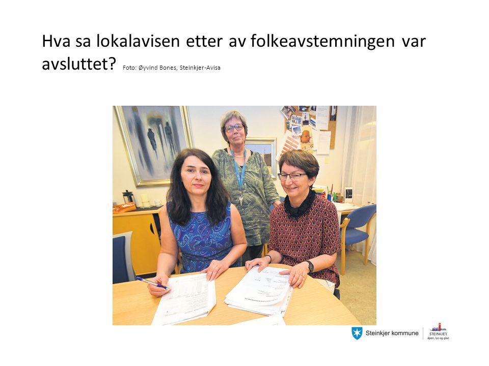 Hva sa lokalavisen etter av folkeavstemningen var avsluttet Foto: Øyvind Bones, Steinkjer-Avisa