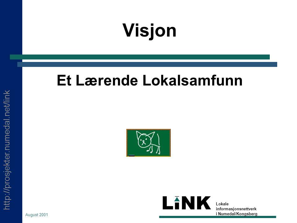 http://prosjekter.numedal.net/link LINK Lokale informasjonsnettverk i Numedal/Kongsberg August 2001 Visjon Et Lærende Lokalsamfunn
