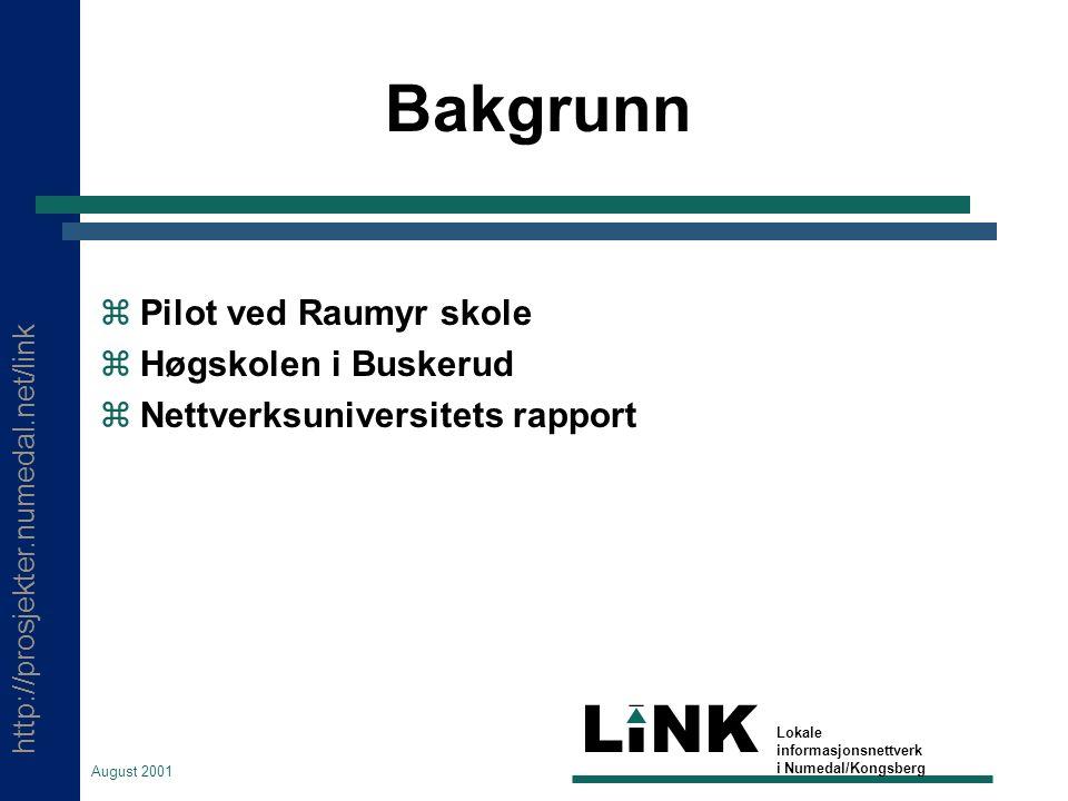 http://prosjekter.numedal.net/link LINK Lokale informasjonsnettverk i Numedal/Kongsberg August 2001 LærerIKT  Bakgrunn  Status  Modell  Innhold  Organisering