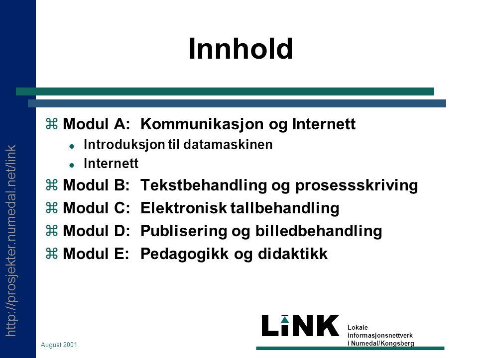 http://prosjekter.numedal.net/link LINK Lokale informasjonsnettverk i Numedal/Kongsberg August 2001 Skoleveven