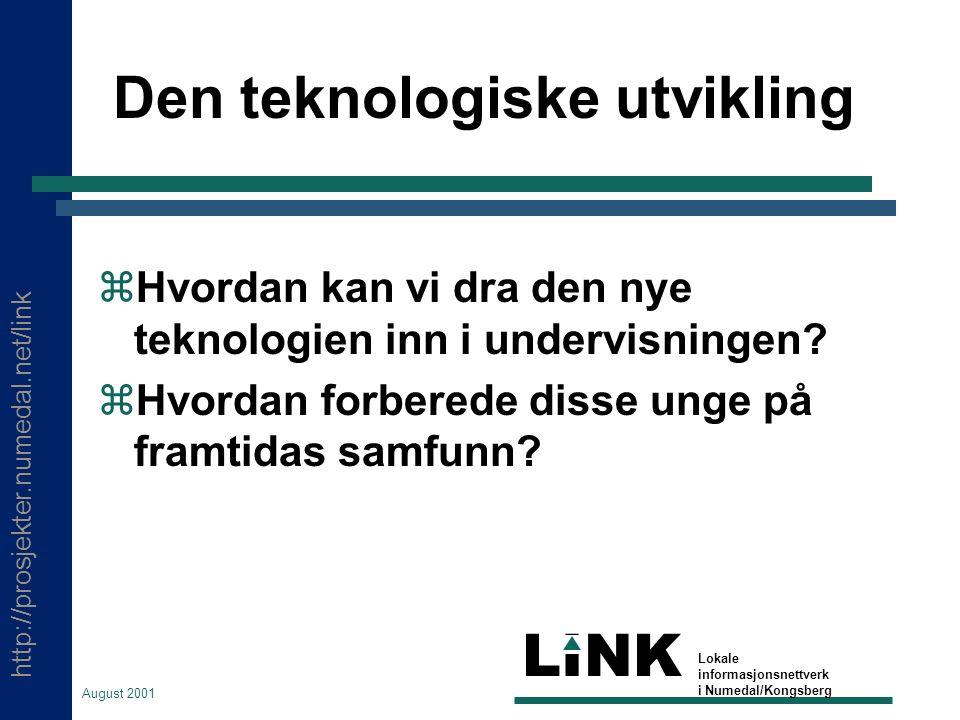 http://prosjekter.numedal.net/link LINK Lokale informasjonsnettverk i Numedal/Kongsberg August 2001 Den teknologiske utvikling  Hvordan kan vi dra den nye teknologien inn i undervisningen.