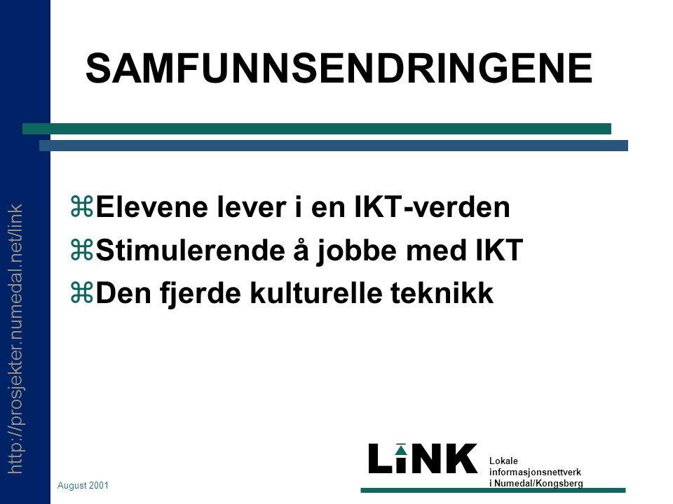 http://prosjekter.numedal.net/link LINK Lokale informasjonsnettverk i Numedal/Kongsberg August 2001 SAMFUNNSENDRINGENE  Elevene lever i en IKT-verden  Stimulerende å jobbe med IKT  Den fjerde kulturelle teknikk