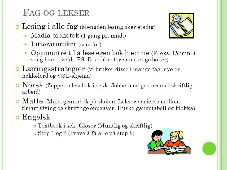 F AG OG LEKSER Lesing i alle fag (Mengden lesing øker stadig) Madla bibliotek (1 gang pr.