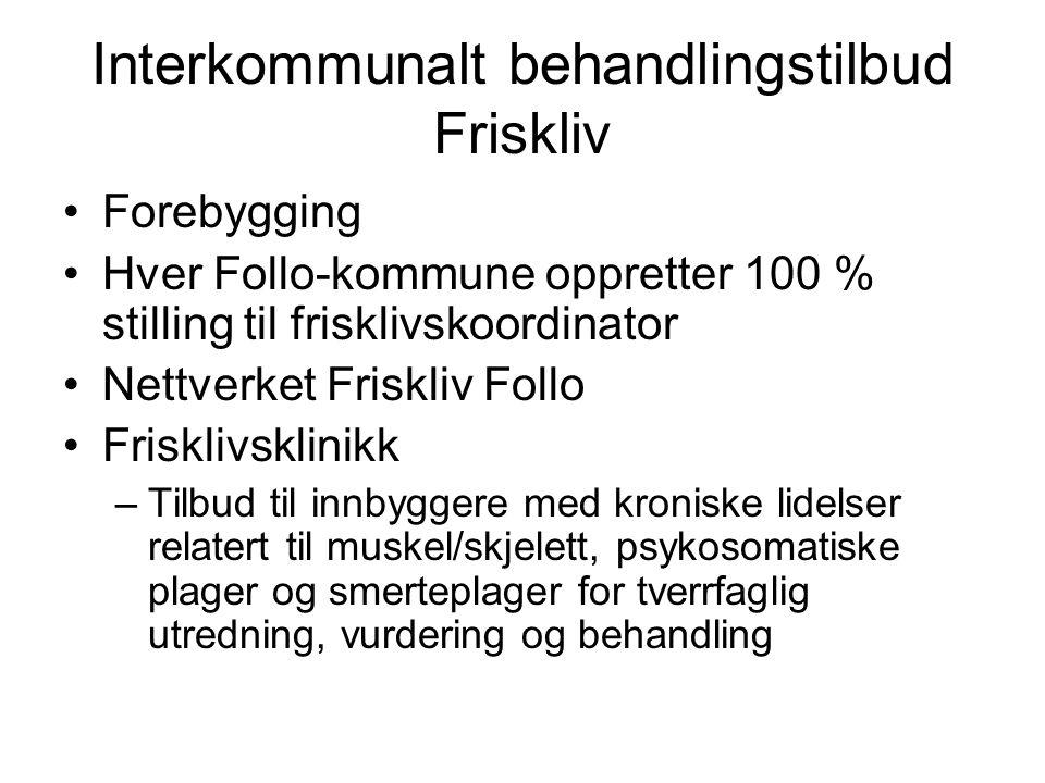 Interkommunalt behandlingstilbud Friskliv Forebygging Hver Follo-kommune oppretter 100 % stilling til frisklivskoordinator Nettverket Friskliv Follo F