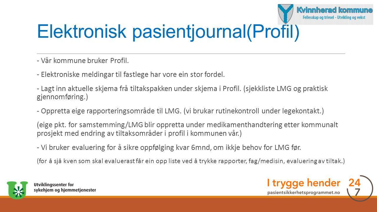 Elektronisk pasientjournal(Profil) - Vår kommune bruker Profil.