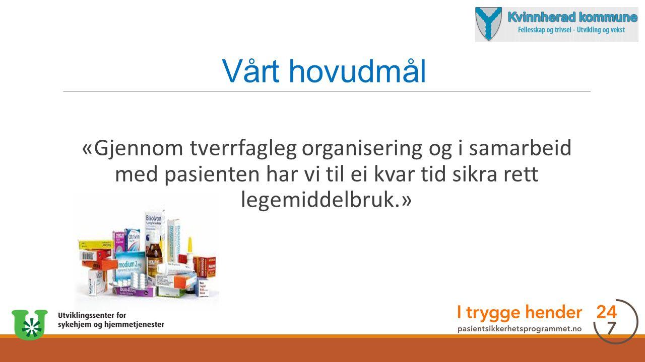 Vårt hovudmål «Gjennom tverrfagleg organisering og i samarbeid med pasienten har vi til ei kvar tid sikra rett legemiddelbruk.»