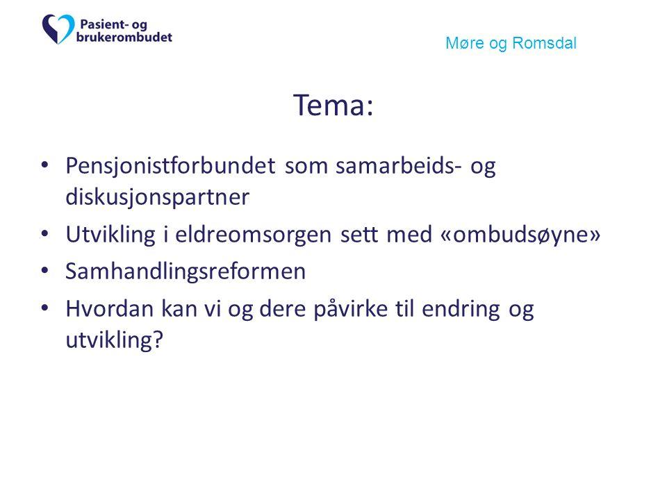 Møre og Romsdal Tema: Pensjonistforbundet som samarbeids- og diskusjonspartner Utvikling i eldreomsorgen sett med «ombudsøyne» Samhandlingsreformen Hvordan kan vi og dere påvirke til endring og utvikling