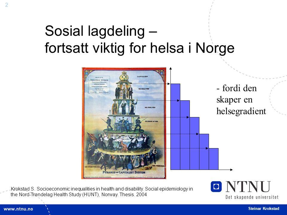 2 Steinar Krokstad - fordi den skaper en helsegradient Sosial lagdeling – fortsatt viktig for helsa i Norge Krokstad S.