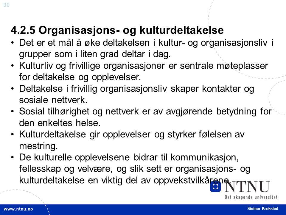 30 Steinar Krokstad 4.2.5 Organisasjons- og kulturdeltakelse Det er et mål å øke deltakelsen i kultur- og organisasjonsliv i grupper som i liten grad deltar i dag.