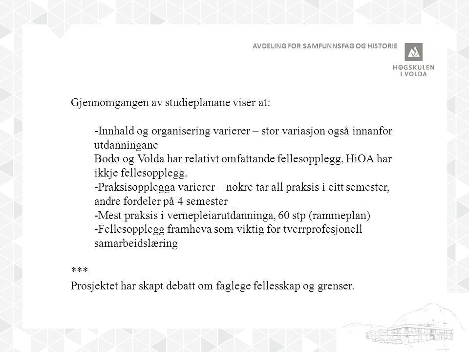 AVDELING FOR SAMFUNNSFAG OG HISTORIE Gjennomgangen av studieplanane viser at: -Innhald og organisering varierer – stor variasjon også innanfor utdanningane Bodø og Volda har relativt omfattande fellesopplegg, HiOA har ikkje fellesopplegg.