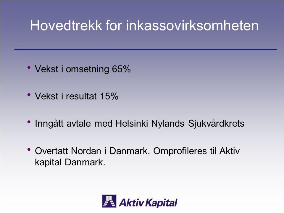 Hovedtrekk for inkassovirksomheten  Vekst i omsetning 65%  Vekst i resultat 15%  Inngått avtale med Helsinki Nylands Sjukvårdkrets  Overtatt Norda