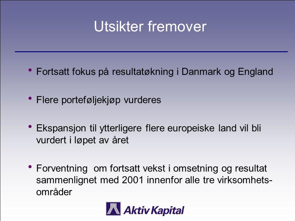 Utsikter fremover  Fortsatt fokus på resultatøkning i Danmark og England  Flere porteføljekjøp vurderes  Ekspansjon til ytterligere flere europeisk