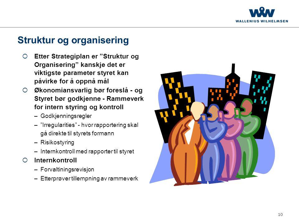 """10 Struktur og organisering  Etter Strategiplan er """"Struktur og Organisering"""" kanskje det er viktigste parameter styret kan påvirke for å oppnå mål """