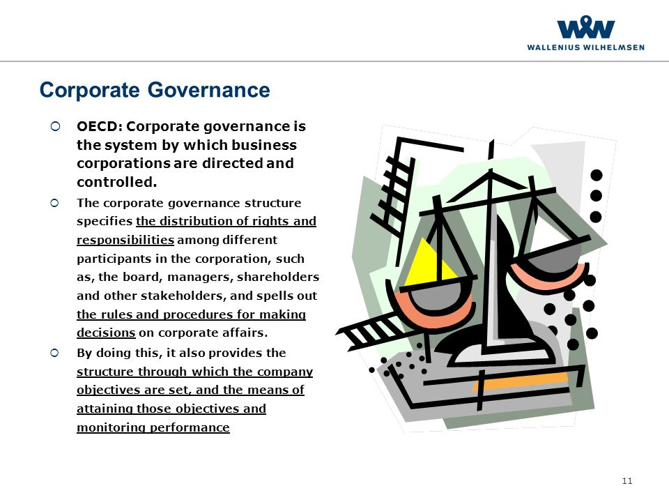 11 Corporate Governance  OECD: Corporate governance is the system by which business corporations are directed and controlled.