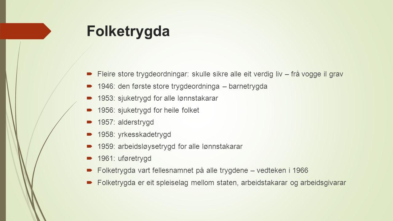 Modernisering av heimen  Mellomkrigstida – nokre elektriske hjelpemiddel, som strykejern, men berre for dei få  1960-talet: dei fleste heimar fekk innlagt straum og vatn sjå også: Dei første kraftverka i Luster: http://www.allkunne.no/framside/fylkesleksikon/kommunar-i-sogn-og- fjordane/luster/dei-forste-kraftverka-i-luster/1922/79400/ http://www.allkunne.no/framside/fylkesleksikon/kommunar-i-sogn-og- fjordane/luster/dei-forste-kraftverka-i-luster/1922/79400/  1||Industrien produserte stadig fleire og billigare hjelpemiddel, som vaskemaskin, kjøleskap og støvsugar  Folk flest fekk betre råd  Starten på bruk-og-kast-mentaliteten
