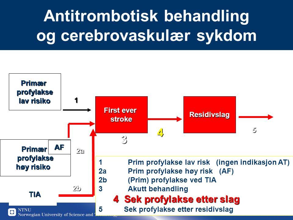 38 Antitrombotisk behandling og cerebrovaskulær sykdomPrimærprofylakse lav risiko First ever strokeResidivslag Primærprofylakse høy risiko TIA 1 2b 3 45 1 Prim profylakse lav risk (ingen indikasjon AT) 2aPrim profylakse høy risk (AF) 2b (Prim) profylakse ved TIA 3 Akutt behandling 4Sek profylakse etter slag 5 Sek profylakse etter residivslag 2a AF