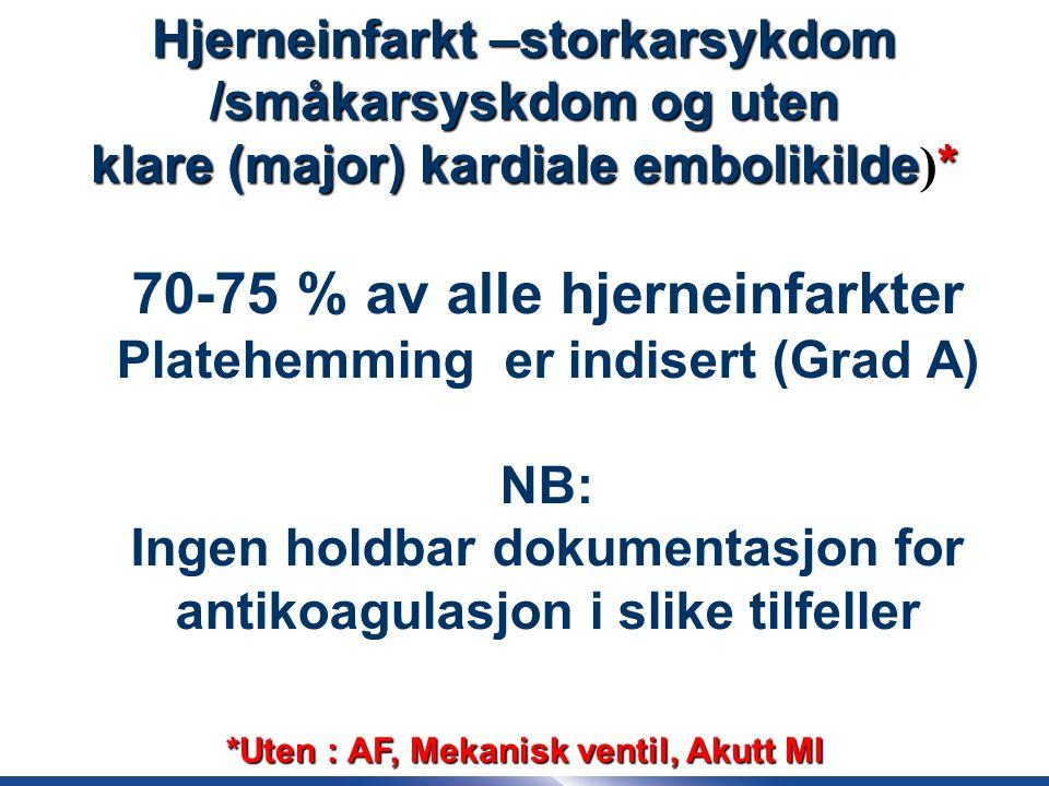 41 70-75 % av alle hjerneinfarkter Platehemming er indisert (Grad A) NB: Ingen holdbar dokumentasjon for antikoagulasjon i slike tilfeller Hjerneinfarkt –storkarsykdom /småkarsyskdom og uten klare (major) kardiale embolikilde* klare (major) kardiale embolikilde ) * *Uten : AF, Mekanisk ventil, Akutt MI