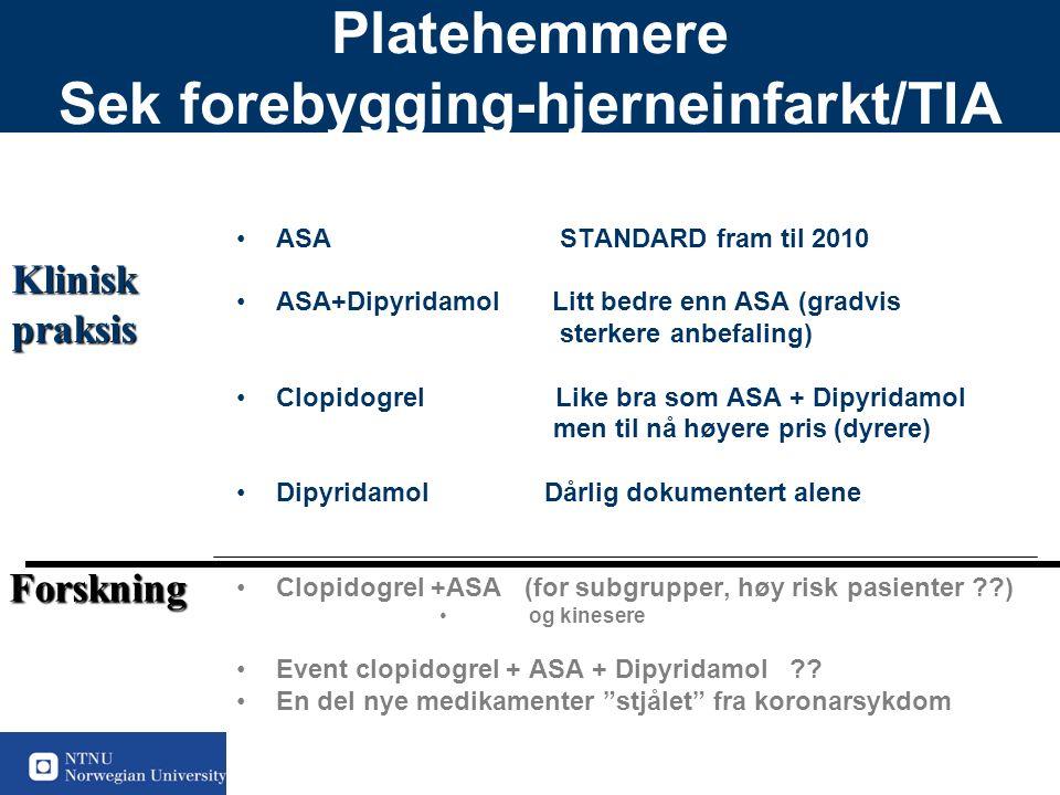 50 Platehemmere Sek forebygging-hjerneinfarkt/TIA ASA STANDARD fram til 2010 ASA+Dipyridamol Litt bedre enn ASA (gradvis sterkere anbefaling) Clopidogrel Like bra som ASA + Dipyridamol men til nå høyere pris (dyrere) Dipyridamol Dårlig dokumentert alene Clopidogrel +ASA (for subgrupper, høy risk pasienter ) og kinesere Event clopidogrel + ASA + Dipyridamol .