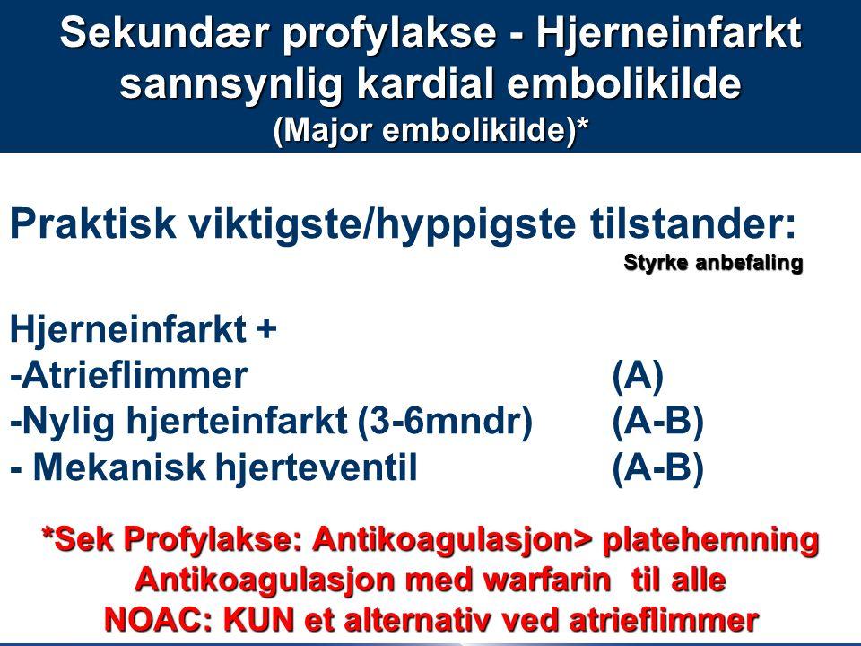 55 Praktisk viktigste/hyppigste tilstander: Hjerneinfarkt + -Atrieflimmer (A) -Nylig hjerteinfarkt (3-6mndr) (A-B) - Mekanisk hjerteventil (A-B) Sekundær profylakse - Hjerneinfarkt sannsynlig kardial embolikilde (Major embolikilde)* *Sek Profylakse: Antikoagulasjon> platehemning Antikoagulasjon med warfarin til alle NOAC: KUN et alternativ ved atrieflimmer Styrke anbefaling