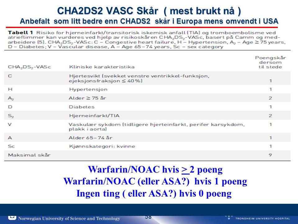 58 CHA2DS2 VASC Skår ( mest brukt nå ) Anbefalt som litt bedre enn CHADS2 skår i Europa mens omvendt i USA Warfarin/NOAC hvis > 2 poeng Warfarin/NOAC (eller ASA ) hvis 1 poeng Ingen ting ( eller ASA ) hvis 0 poeng