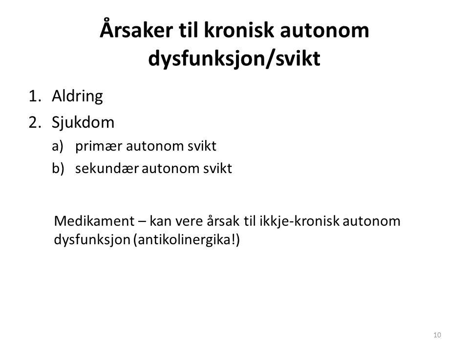 Årsaker til kronisk autonom dysfunksjon/svikt 1.Aldring 2.Sjukdom a)primær autonom svikt b)sekundær autonom svikt 10 Medikament – kan vere årsak til ikkje-kronisk autonom dysfunksjon (antikolinergika!)