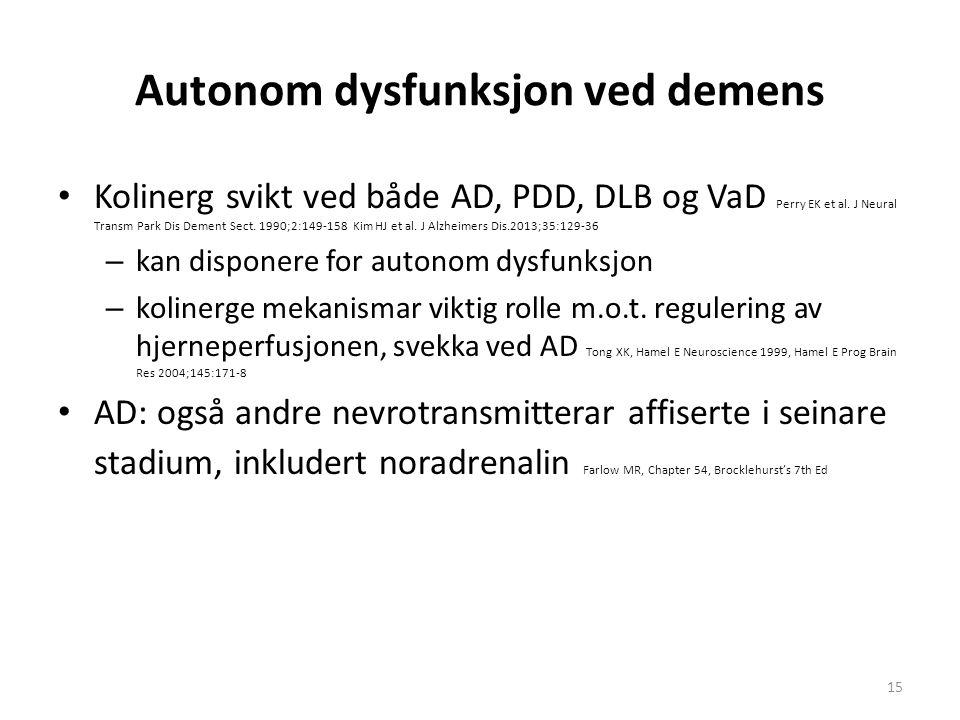 Autonom dysfunksjon ved demens Kolinerg svikt ved både AD, PDD, DLB og VaD Perry EK et al. J Neural Transm Park Dis Dement Sect. 1990;2:149-158 Kim HJ