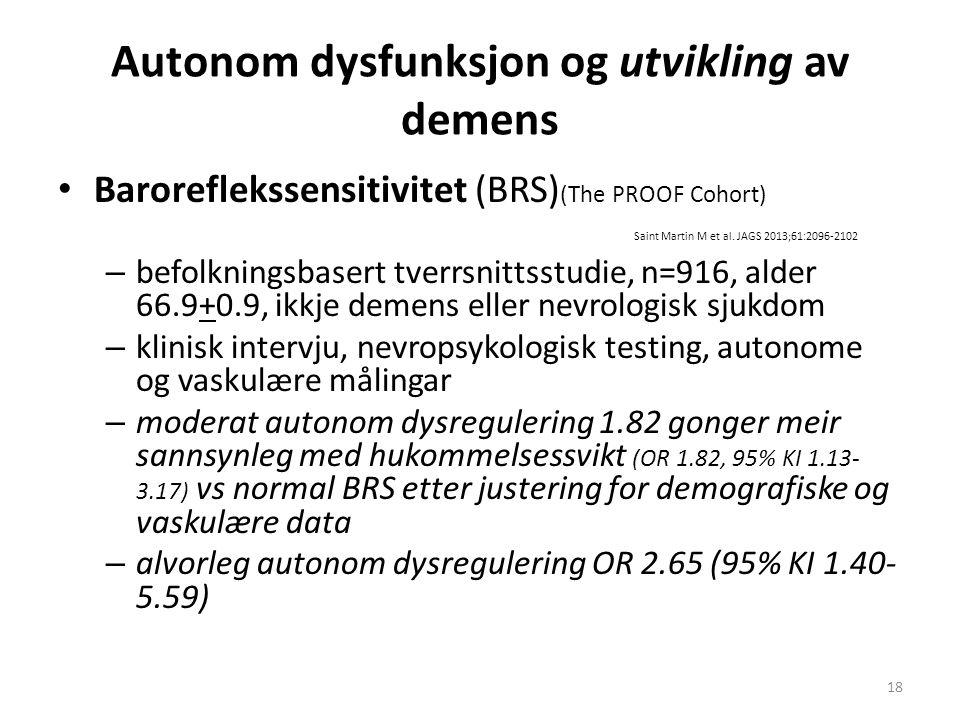 Autonom dysfunksjon og utvikling av demens Baroreflekssensitivitet (BRS) (The PROOF Cohort) Saint Martin M et al. JAGS 2013;61:2096-2102 – befolknings