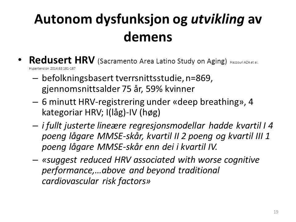 Autonom dysfunksjon og utvikling av demens Redusert HRV (Sacramento Area Latino Study on Aging) Hazzouri AZA et al. Hypertension 2014;63:181-187 – bef