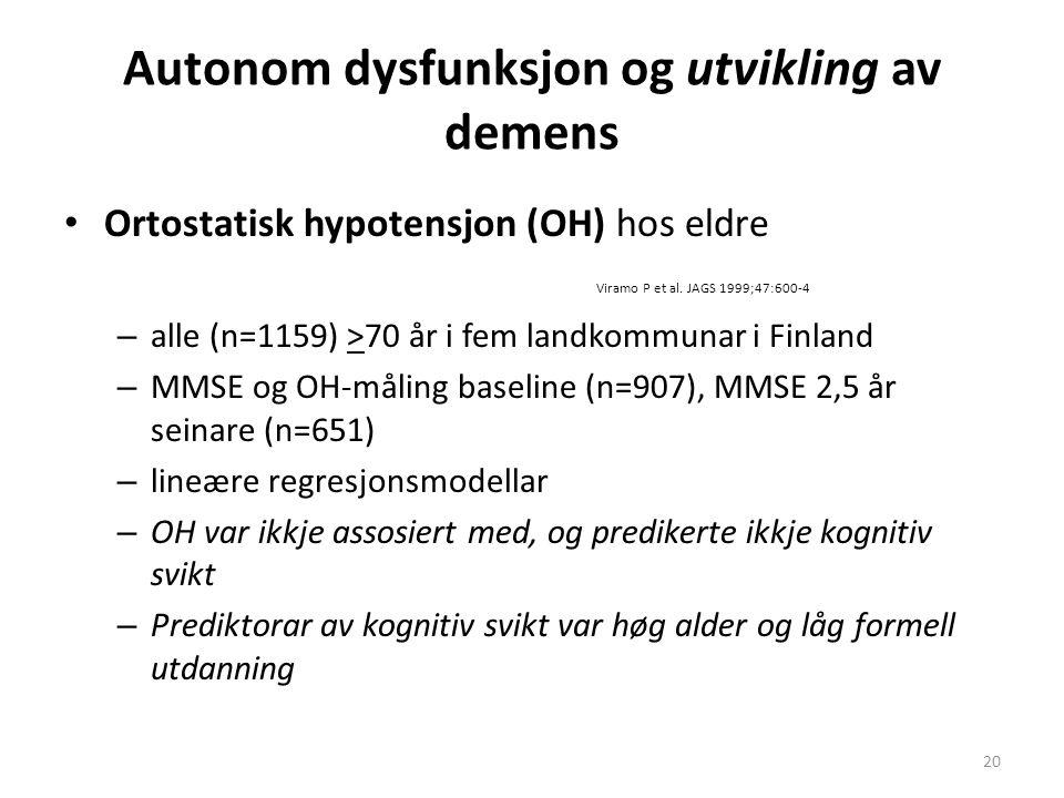 Autonom dysfunksjon og utvikling av demens Ortostatisk hypotensjon (OH) hos eldre Viramo P et al. JAGS 1999;47:600-4 – alle (n=1159) >70 år i fem land