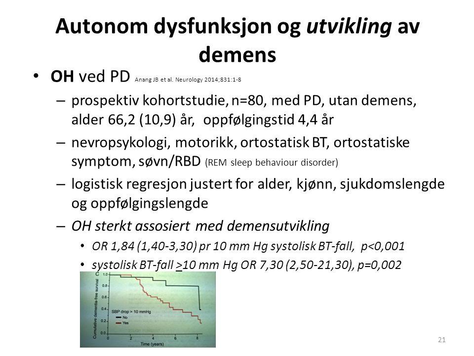 Autonom dysfunksjon og utvikling av demens OH ved PD Anang JB et al. Neurology 2014;831:1-8 – prospektiv kohortstudie, n=80, med PD, utan demens, alde