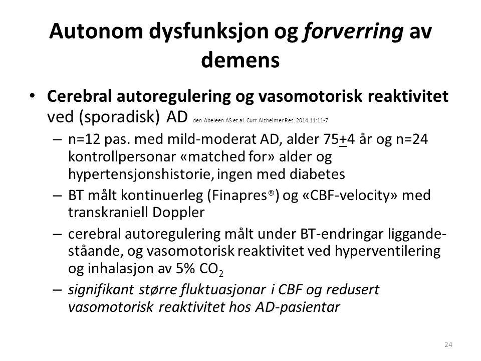 Autonom dysfunksjon og forverring av demens Cerebral autoregulering og vasomotorisk reaktivitet ved (sporadisk) AD den Abeleen AS et al.