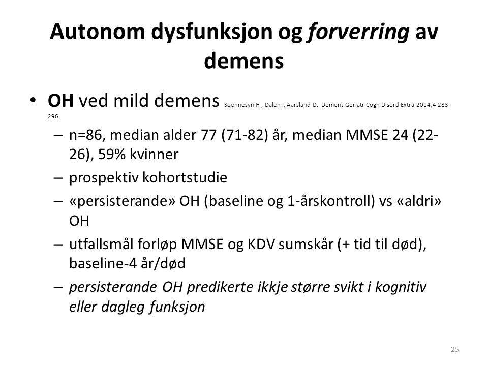 Autonom dysfunksjon og forverring av demens OH ved mild demens Soennesyn H, Dalen I, Aarsland D. Dement Geriatr Cogn Disord Extra 2014;4.283- 296 – n=