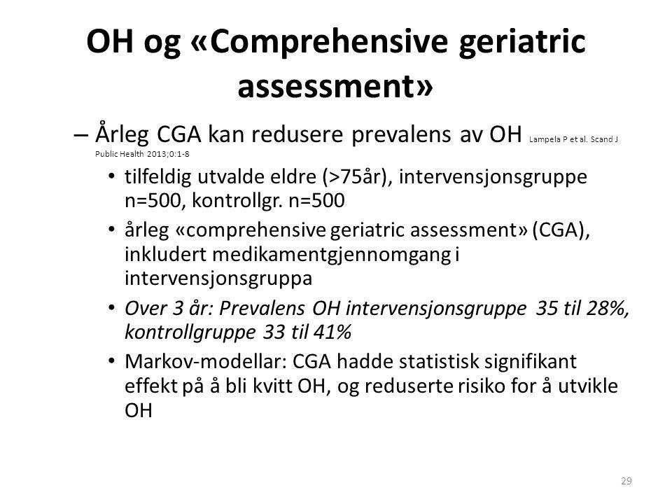 OH og «Comprehensive geriatric assessment» – Årleg CGA kan redusere prevalens av OH Lampela P et al. Scand J Public Health 2013;0:1-8 tilfeldig utvald