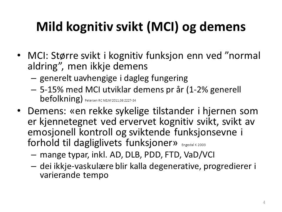 Mild kognitiv svikt (MCI) og demens MCI: Større svikt i kognitiv funksjon enn ved normal aldring , men ikkje demens – generelt uavhengige i dagleg fungering – 5-15% med MCI utviklar demens pr år (1-2% generell befolkning) Petersen RC NEJM 2011;36:2227-34 Demens: «en rekke sykelige tilstander i hjernen som er kjennetegnet ved ervervet kognitiv svikt, svikt av emosjonell kontroll og sviktende funksjonsevne i forhold til dagliglivets funksjoner» Engedal K 2003 – mange typar, inkl.