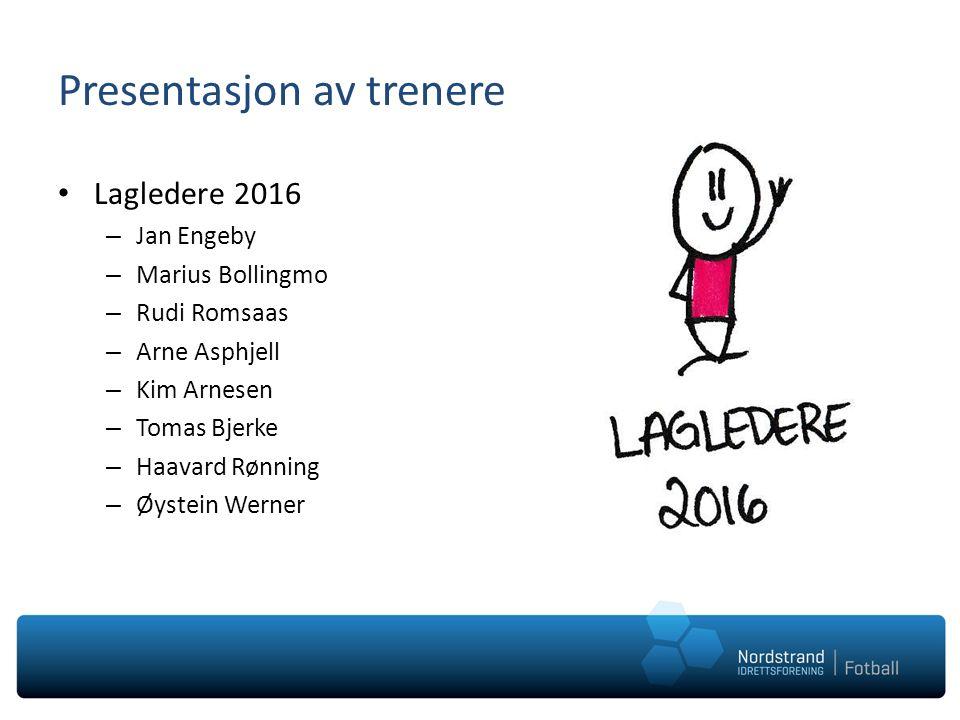 Presentasjon av trenere Lagledere 2016 – Jan Engeby – Marius Bollingmo – Rudi Romsaas – Arne Asphjell – Kim Arnesen – Tomas Bjerke – Haavard Rønning – Øystein Werner