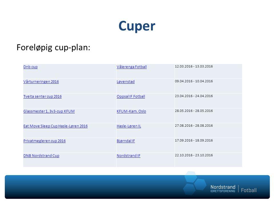 Cuper Gjennomføring som de foregående cupene: Vi melder på lag tidlig Førstmann til mølla Egenandel på 150,- Publisere påmeldingsliste på hjemmesiden?